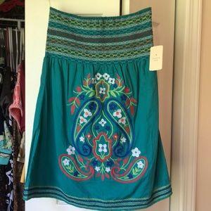 NWT Twenty One BOHO Skirt Turquoise Embroidered